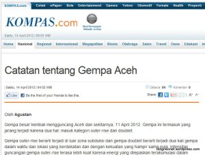 Catatan tentang Gempa Aceh - KOMPAS.com